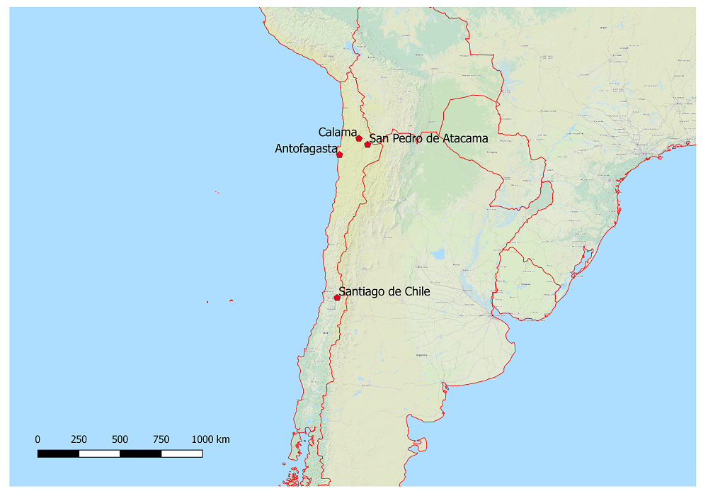 San Pedro de Atacama befindet sich ~45 km südöstlich von Calama und mehr als 1.000 km nördlich von Santiago de Chile