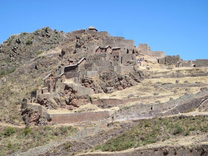 Pisac Peru Heiliges Tal. Stätten und Ruinen in Peru