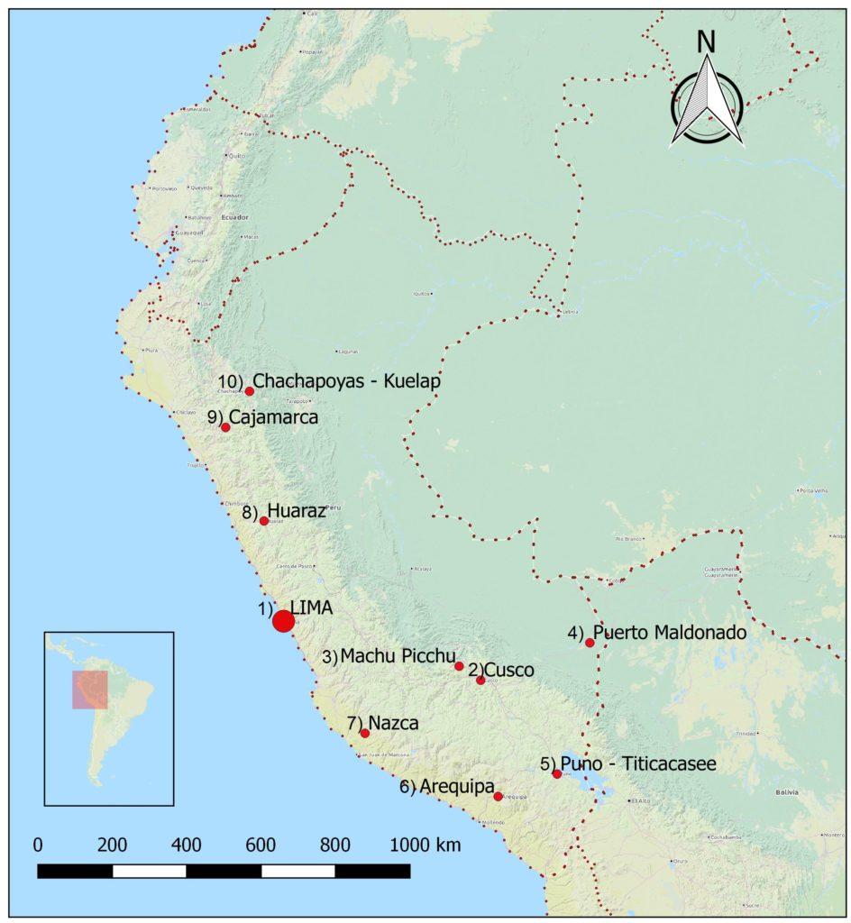 Peru Sehenswürdigkeiten karte top 10 highlights