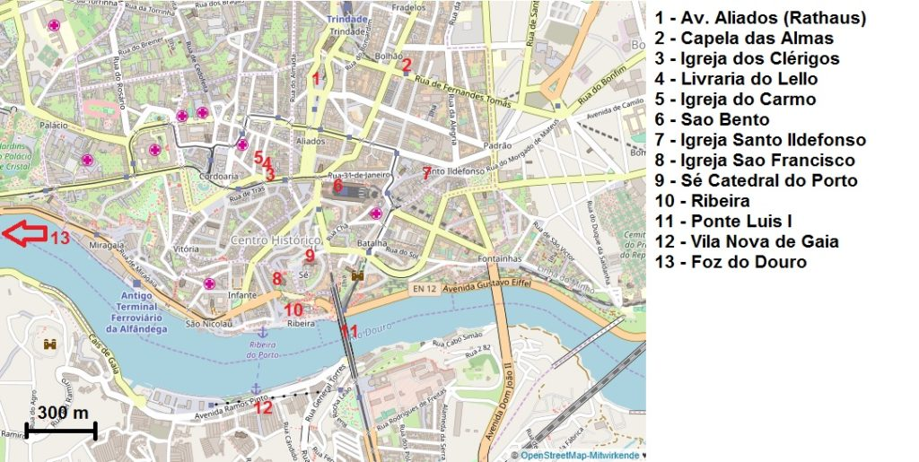 Die wichtigsten Sehenswürdigkeiten von Porto auf einer Karte
